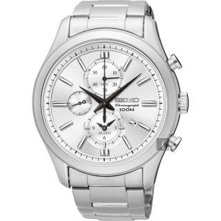【SEIKO】精工 CS 紳士品味計時腕錶-銀/43mm(7T62-0LJ0S  SNAF63P1)