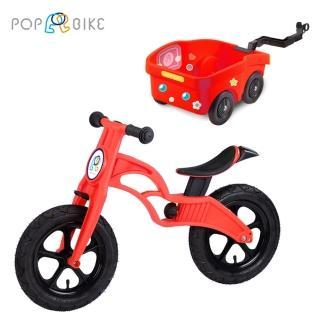 【BabyTiger虎兒寶】POPBIKE 兒童平衡滑步車 -(AIR充氣胎 + 托車組-紅)