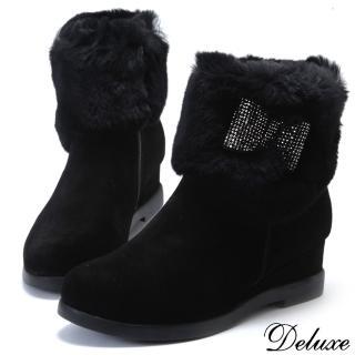 【Deluxe】全真皮兔毛水鑽蝴蝶結內增高短靴(黑)