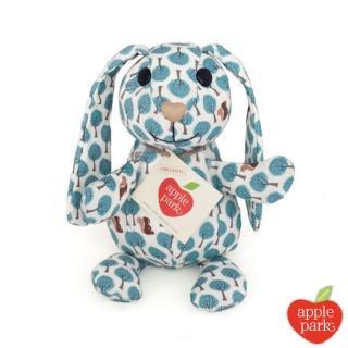 【美國 Apple Park】野餐好朋友系列 有機棉印花玩偶禮盒(長耳兔-粉藍森林)