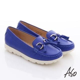 【A.S.O】輕量樂活 真皮流蘇結奈米平底鞋(寶藍)
