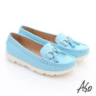 【A.S.O】輕量樂活 真皮流蘇結奈米平底鞋(淺藍)