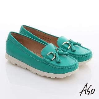 【A.S.O】輕量樂活 真皮流蘇結奈米平底鞋(正綠)