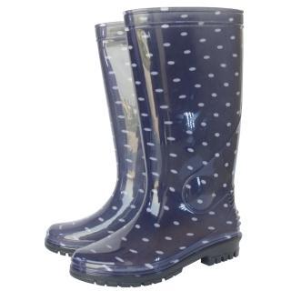 台製一體成型時尚高筒雨靴/雨鞋(星光點點)