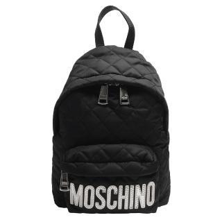 【MOSCHINO】菱格紋縫線銀色LOGO尼龍後背包(小-黑7B7608-8201-4555)