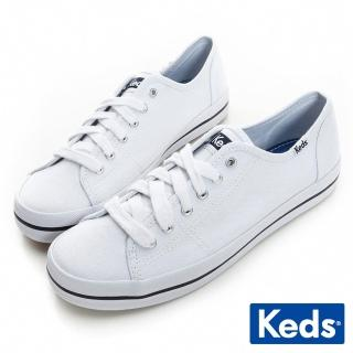 【Keds】中性基本綁帶休閒鞋(白色)