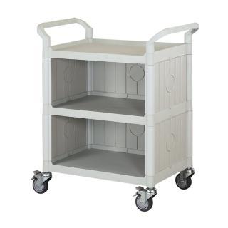 【100%台灣製】標準多功能三層三面圍邊工具餐車/手推車/置物架(優雅白)