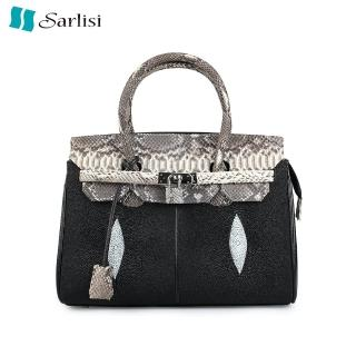 【Sarlisi】時尚唯美珍珠魚皮蟒蛇邊柏金包(黑色)