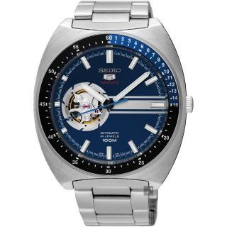 【SEIKO】精工 5號尊者鏤空機械腕錶-藍/44mm(4R38-01K0B  SSA327J1)