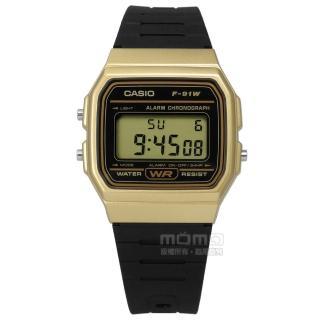 【CASIO 卡西歐】卡西歐方型復刻回歸計時電子橡膠手錶 黑金x黑 32mm(F-91WM-9A)