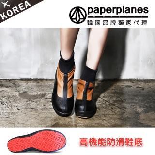 【PAPERPLANES韓國雨靴】正韓空運。高機能防滑防刮性格縮口短靴(7-201051咖啡/現+預)