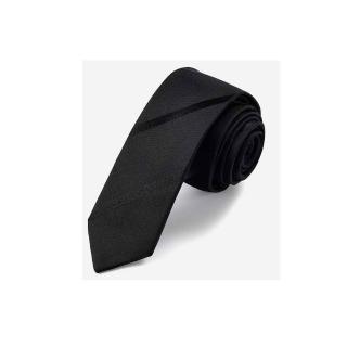 【拉福】斜紋5CM窄版領帶拉鍊領帶(黑色)  拉福