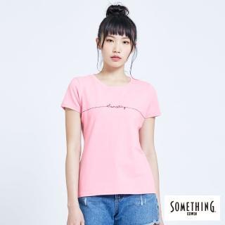 【SOMETHING】SOMETHING心電圖LOGO繡線圓領短TEE(淺粉紅)