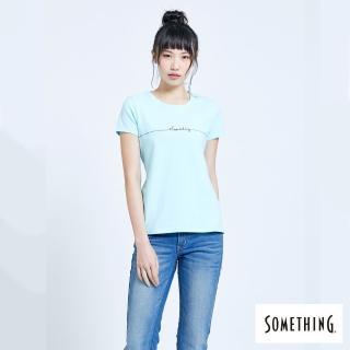 【SOMETHING】SOMETHING心電圖LOGO繡線圓領短TEE(水藍色)