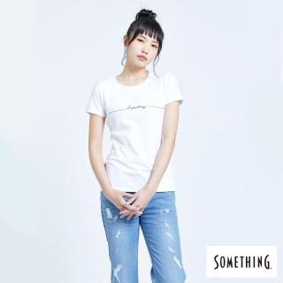 【SOMETHING】SOMETHING心電圖LOGO繡線圓領短TEE(白色)