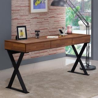 【AT HOME】享利5尺柚木集層三抽書桌