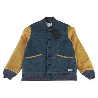 【NEIGHBORHOOD】復古潮流雙色拼接帆布麂皮羊毛冬季保暖外套(M/芥黃+藏青)