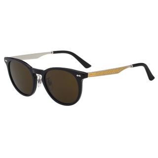 【GUCCI】-皇室風格紋路 太陽眼鏡(黑色+咖啡鏡片)