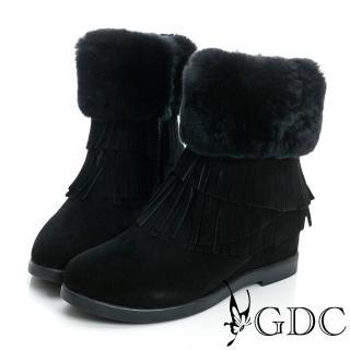 【GDC】真毛-超暖毛毛流蘇絨面真皮中筒雪靴-黑色(628486)