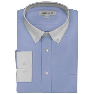 【MURANO】白領撞色長袖襯衫(藍色)