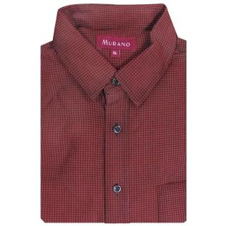 【MURANO】千鳥格燈芯絨長袖襯衫(紅色)