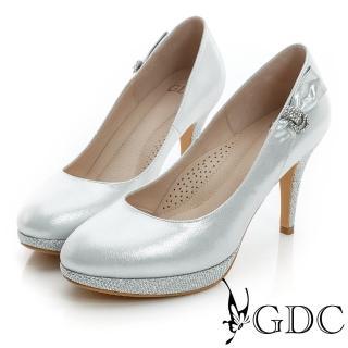 【GDC】幸福婚鞋-側面水鑽蝴蝶結亮片真皮高跟鞋-銀色(417123)