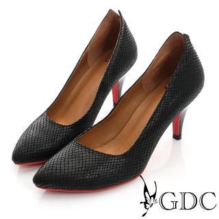 【GDC】都會-V切口紅底尖頭真皮中跟鞋-黑色(421108)