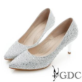 【GDC】幸福婚鞋-色彩水鑽尖頭真皮中跟鞋-銀色(517130)