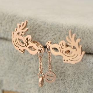 【米蘭精品】玫瑰金耳環流行飾品(舞會面具時尚母親節生日情人節禮物71at13)