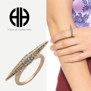 【House of Harlow 1960】好萊塢品牌 侯爵夫人 煙燻水晶 古董金戒指(水晶戒指)