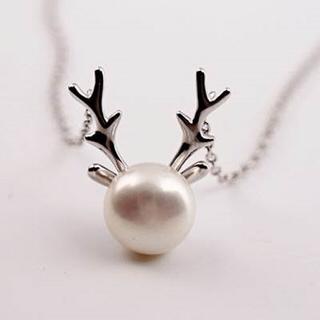 【米蘭精品】項鍊珍珠流行銀飾品(獨特經典麋鹿角造型母親節生日情人節禮物73as1)