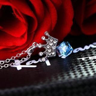 【米蘭精品】項鍊水晶流行飾品(鑲鑽甜美公主風皇冠造型母親節情人節生日禮物7色73aj24)