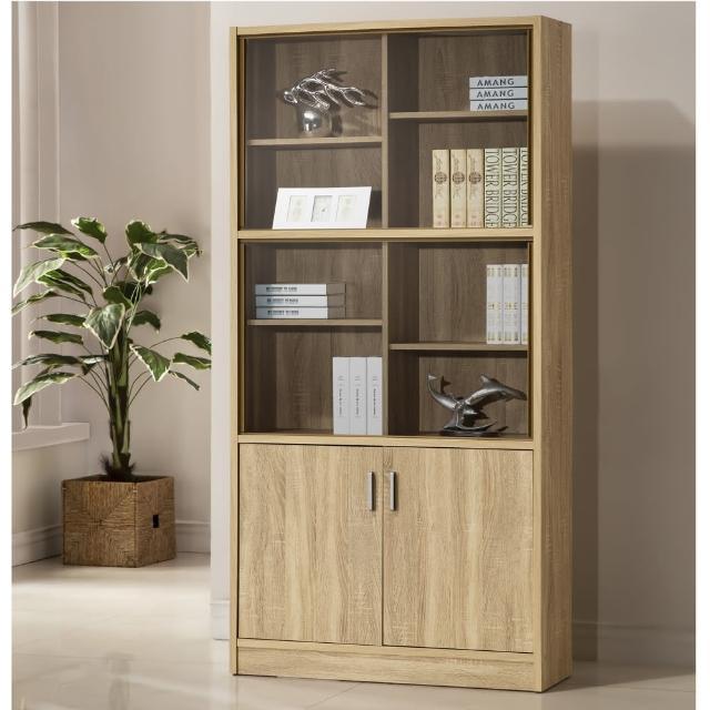 【COMDESK】十二格雙門玻璃書櫃-3D木紋-淺木色(置物櫃-收納櫃)