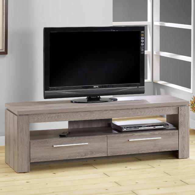 【ARDENT】5尺雙抽電視櫃-3D木紋-深木色(視聽櫃-客廳櫃)