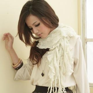 【I-shi】暖呼呼-波浪疊層厚款圍巾(米)  I-Shi