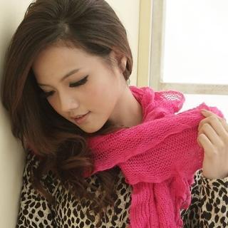 【I-shi】暖呼呼-波浪疊層厚款圍巾(桃紅)  I-Shi