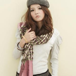 【I-shi】泡泡棉花糖厚款圍巾(粉黃)  I-Shi