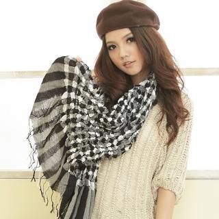 【I-shi】泡泡棉花糖厚款圍巾(黑白)  I-Shi