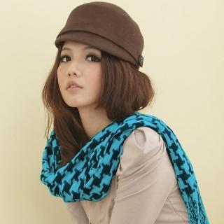 【I-shi】暖呼呼-日系千鳥格厚款長圍巾(藍黑)   I-Shi