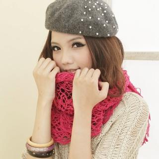 【I-shi】暖呼呼-毛織鏤空厚款圍巾(桃紅)  I-Shi