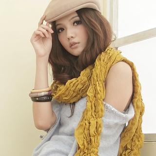 【I-shi】雙格混織厚款圍巾(芥黃)   I-Shi