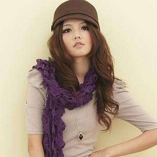 【I-shi】暖呼呼-毛線泡泡厚款圍巾(紫)   I-Shi