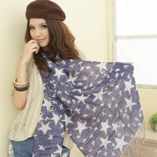 【I-shi】雙面五角星厚款圍巾(藍)   I-Shi