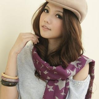 【I-shi】雙面五角星厚款圍巾(紫)  I-Shi