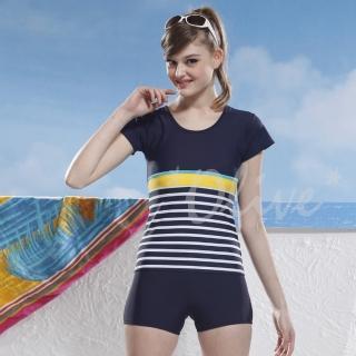 【泳之美】時尚二件式短袖加大泳裝(NO.2266-3L)   泳之美
