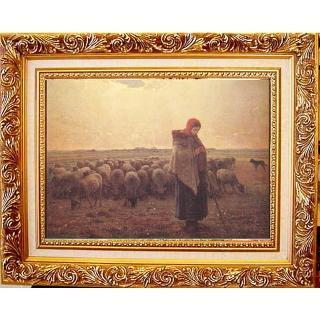 【開運陶源】牧羊女與羊群 中幅50x40cm-驚豔米勒 田園之美  開運陶源