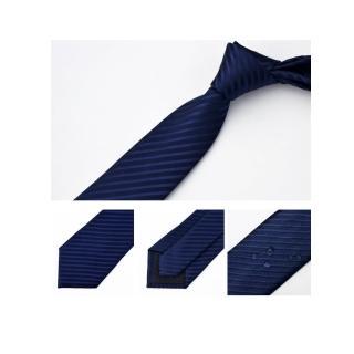【拉福】領帶防水領帶7cm領帶拉鍊領帶(藍斜)  拉福