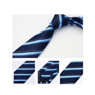 【拉福】領帶防水領帶帥意7cm領帶手打領帶(藍斜)   拉福