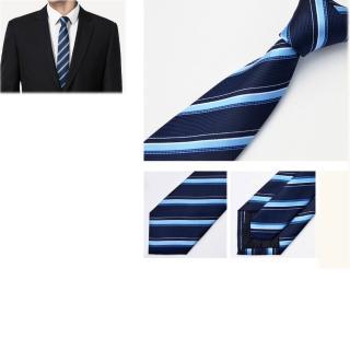 【拉福】領帶防水領帶帥意7cm領帶拉鍊領帶(藍斜)   拉福
