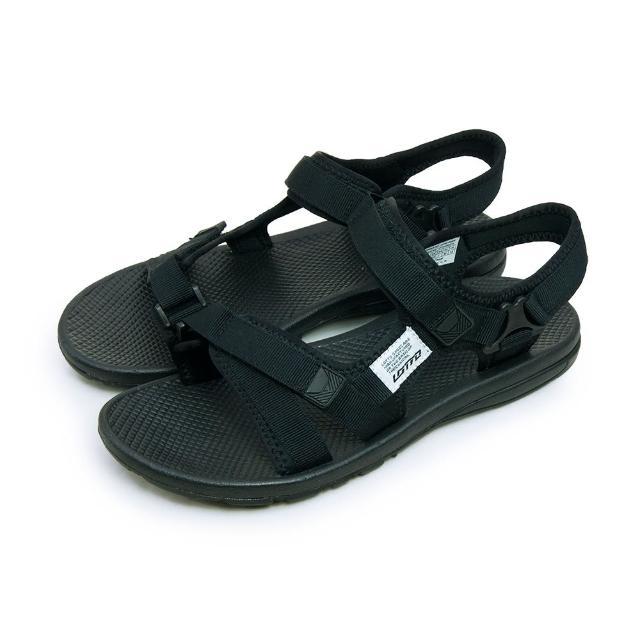 【LOTTO】男 輕量織帶運動涼鞋 街頭流行時尚系列(黑 5270)